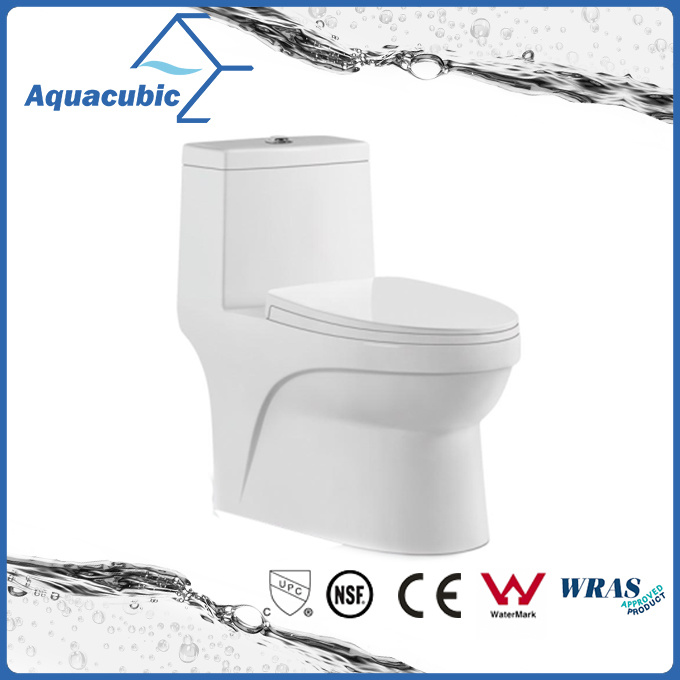 China One Piece Dual Flush Ceramic Round Front Bowl Toilet Act7005 Closet
