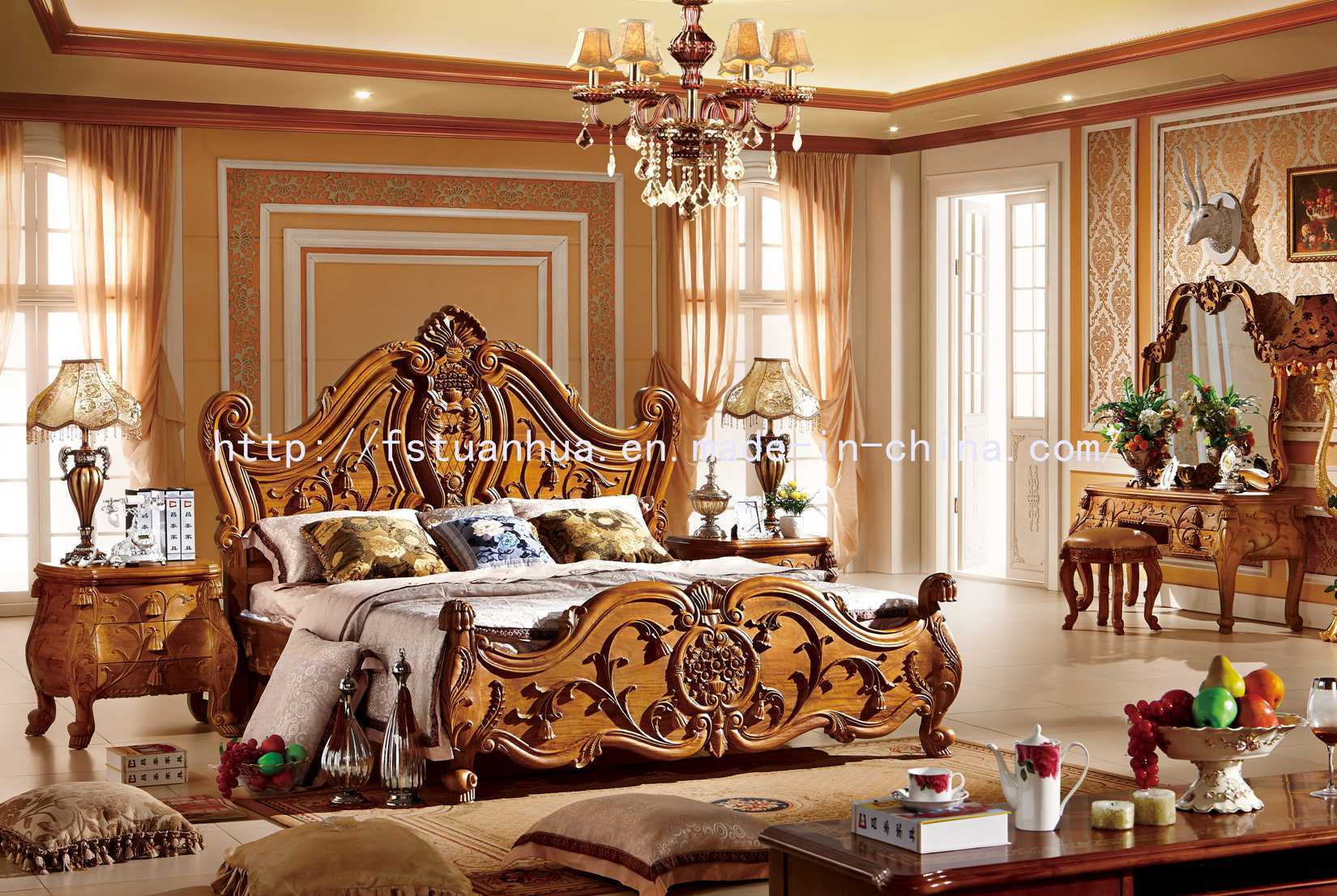 China Top Quality European Teak Wood Double Bed Model Designs Th 516 China Carving Bed Leather Bed