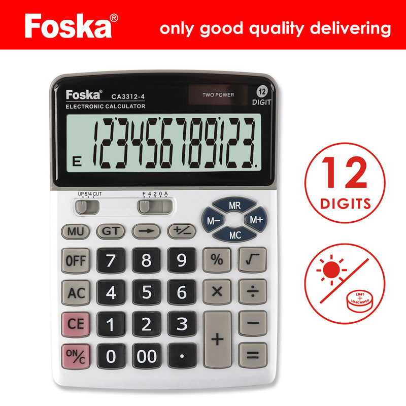 [Hot Item] 12 Digit Solar Power Desktop Office Calculator