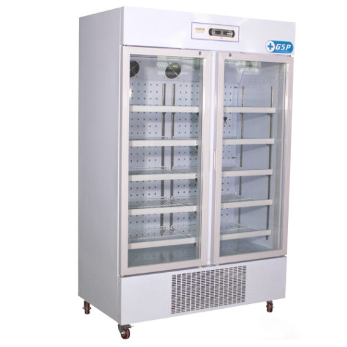 China 660l 820 Degree Double Glass Doors Pharmacy Cabinet