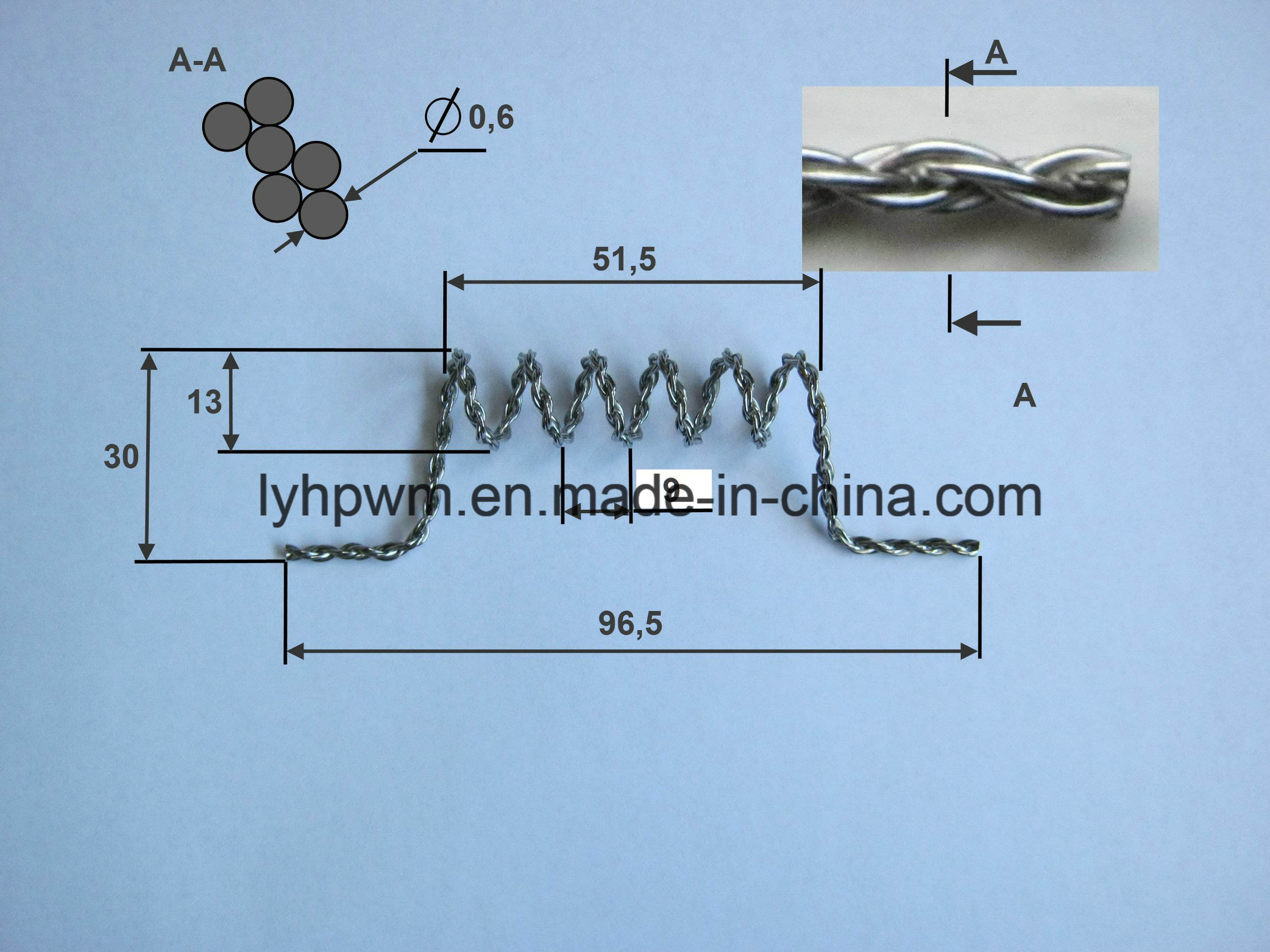China Customable 99.95% Tungsten Spiral Wire, Tungsten Twisted Wire ...