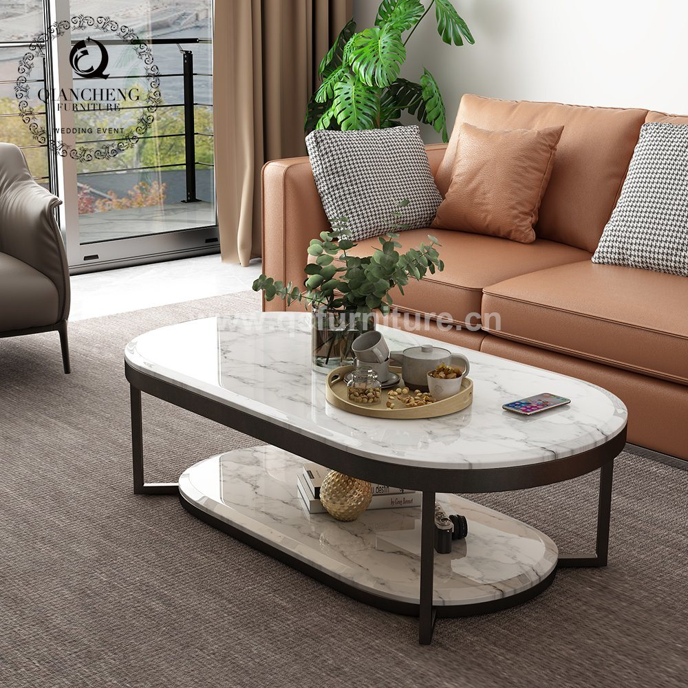 China Living Room Furniture Ellipse Steel Frame Two Tier Marble Coffee Table China Coffee Table Living Room Furniture