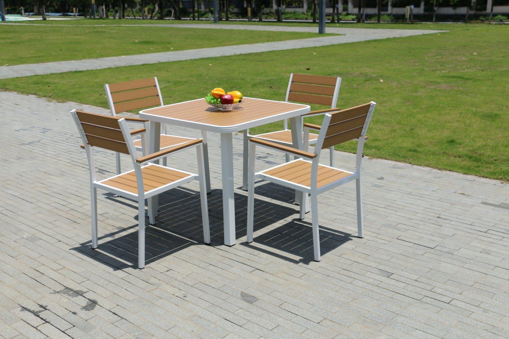 China Aluminium Restaurant Timber, Timber Outdoor Bench Dining Table Set