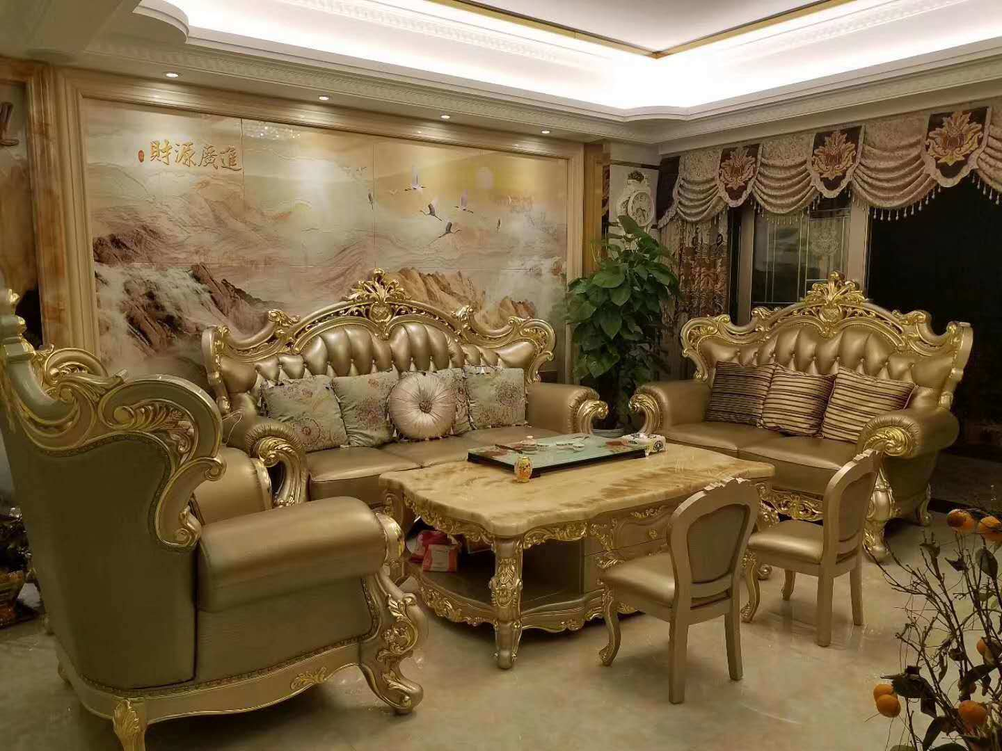 Marvelous Hot Item Golden Color Luxury Royal Furniture Sets Living Room Leather Sofa 028 Interior Design Ideas Tzicisoteloinfo
