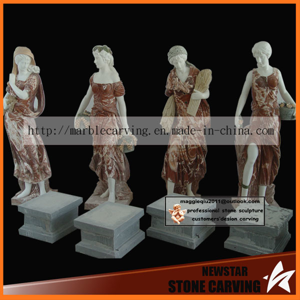 Mixed Color Carved Stone Marble Four Season Lady Statues with Fruites
