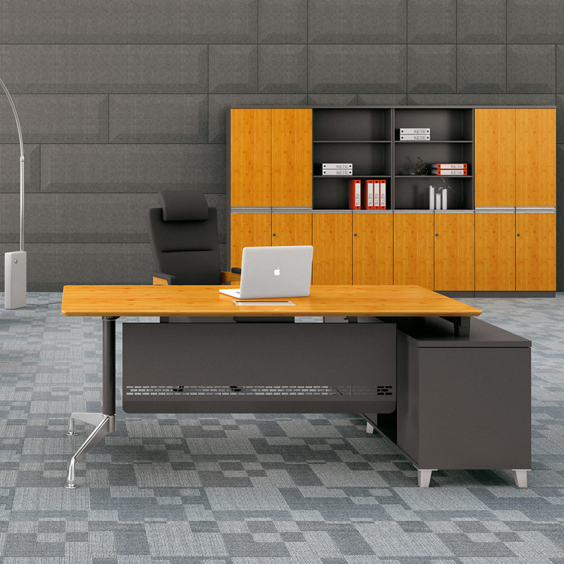 China High End Solid Bamboo Grain Panel Executive Computer Table For Office Furniture