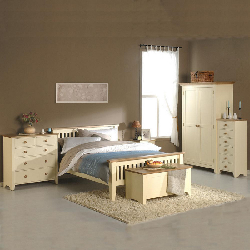 [Hot Item] White Painted Wooden Bedroom Set Furniture