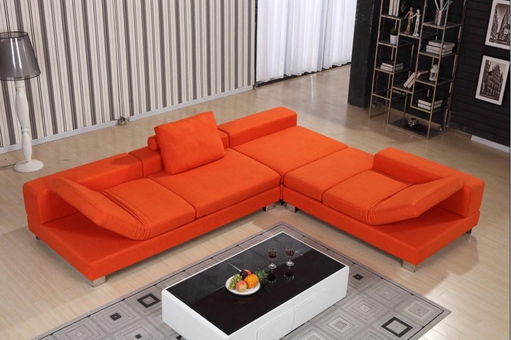 China Orange Color Italian Style Fabric Sofa For Soft Furniture Home