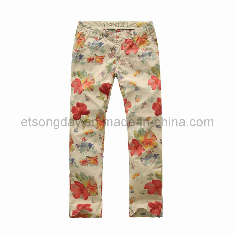 Flower Printed 100% Cotton Men′s Trousers (GV135)