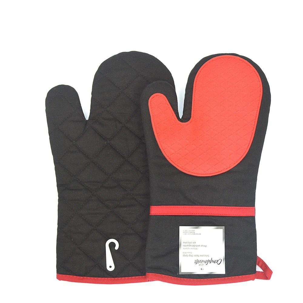 China Black Cotton Silicone Oven Mitts Heat Resistant Kitchen Gloves Mitt