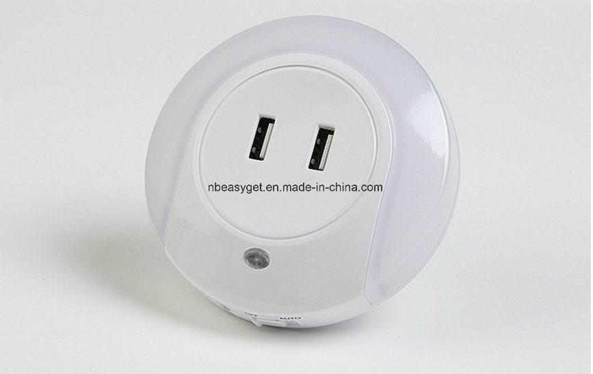 60891e33ca53 Plug in Night Light, Dusk to Dawn Sensor LED Night Lights, 5V 2A Dual USB  Wall Charger Bedside Lamp, Plug-in Wall Nights Esg10447