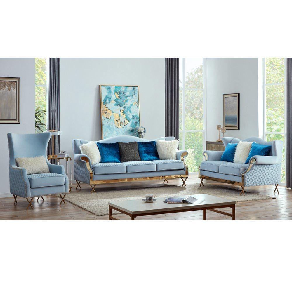China Fabric Sofa Living Room Fabric Recliner Chair Living Room Sofa Set With Gold Leg Blue Velvet Sofa China Hotel Furniture Home Sofa