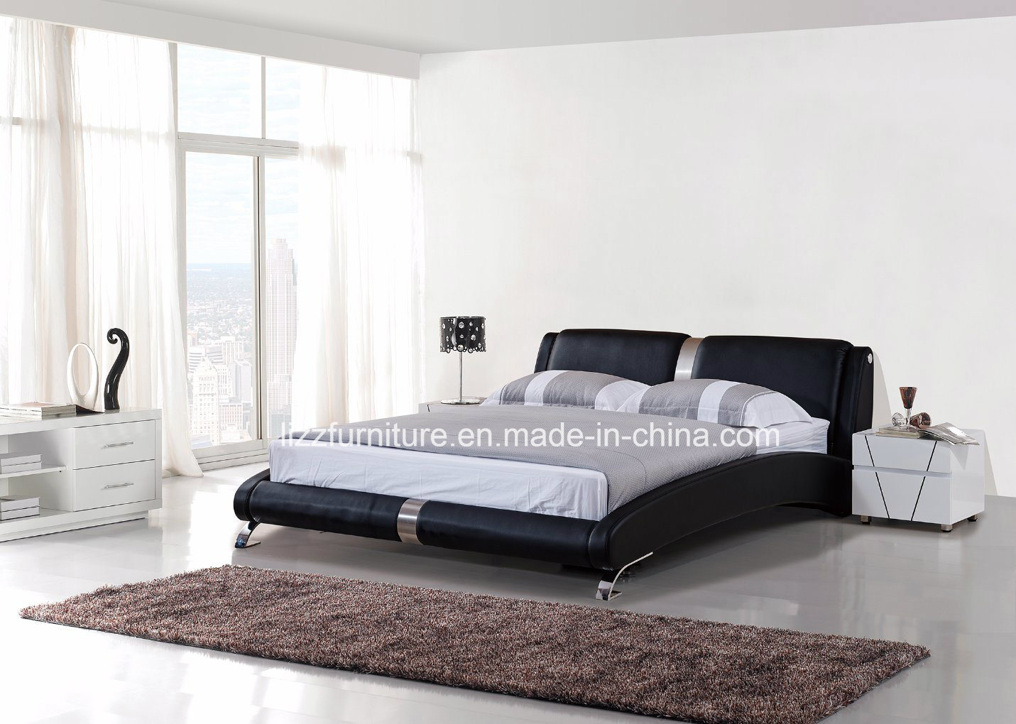 China stylish bedroom furniture dubai modern leather wooden bed china soft bed storage bed