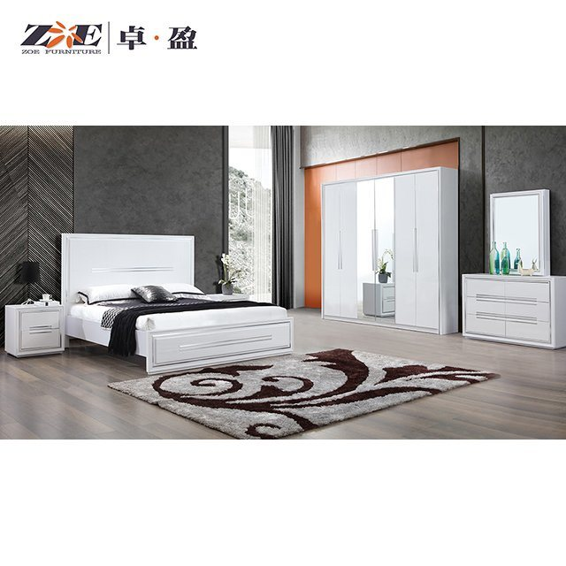 China Modern Wooden High Glossy White, Wood And Metal Bedroom Furniture Set