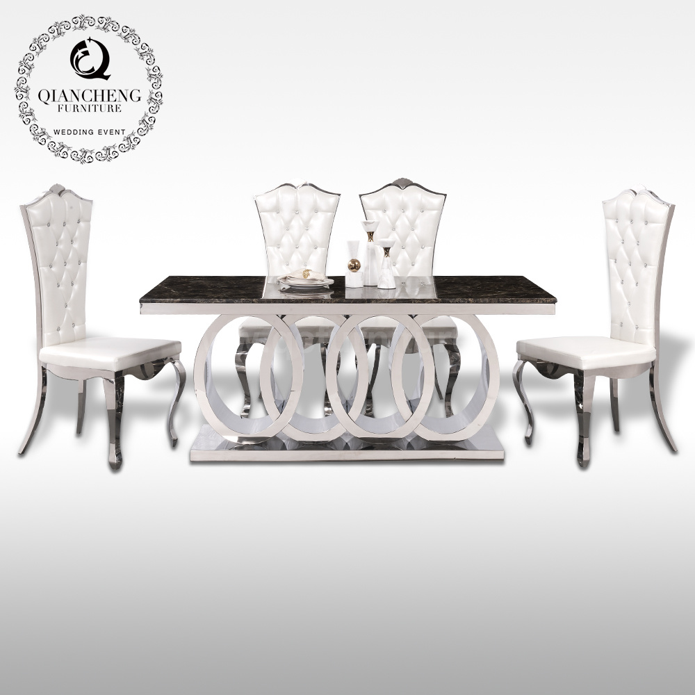 China New Model Marble Dining Table Hot Sale Dining Room Furniture China Dining Table Marble Dining Table