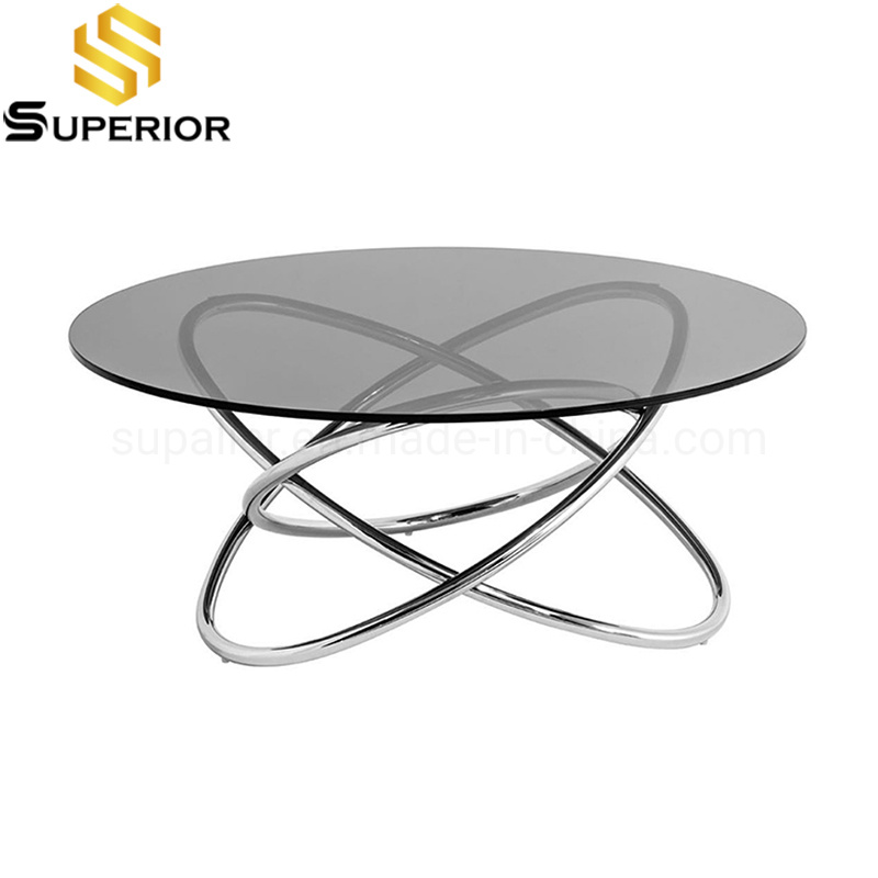China Good Quality Home Furniture, Round Glass Coffee Table Modern