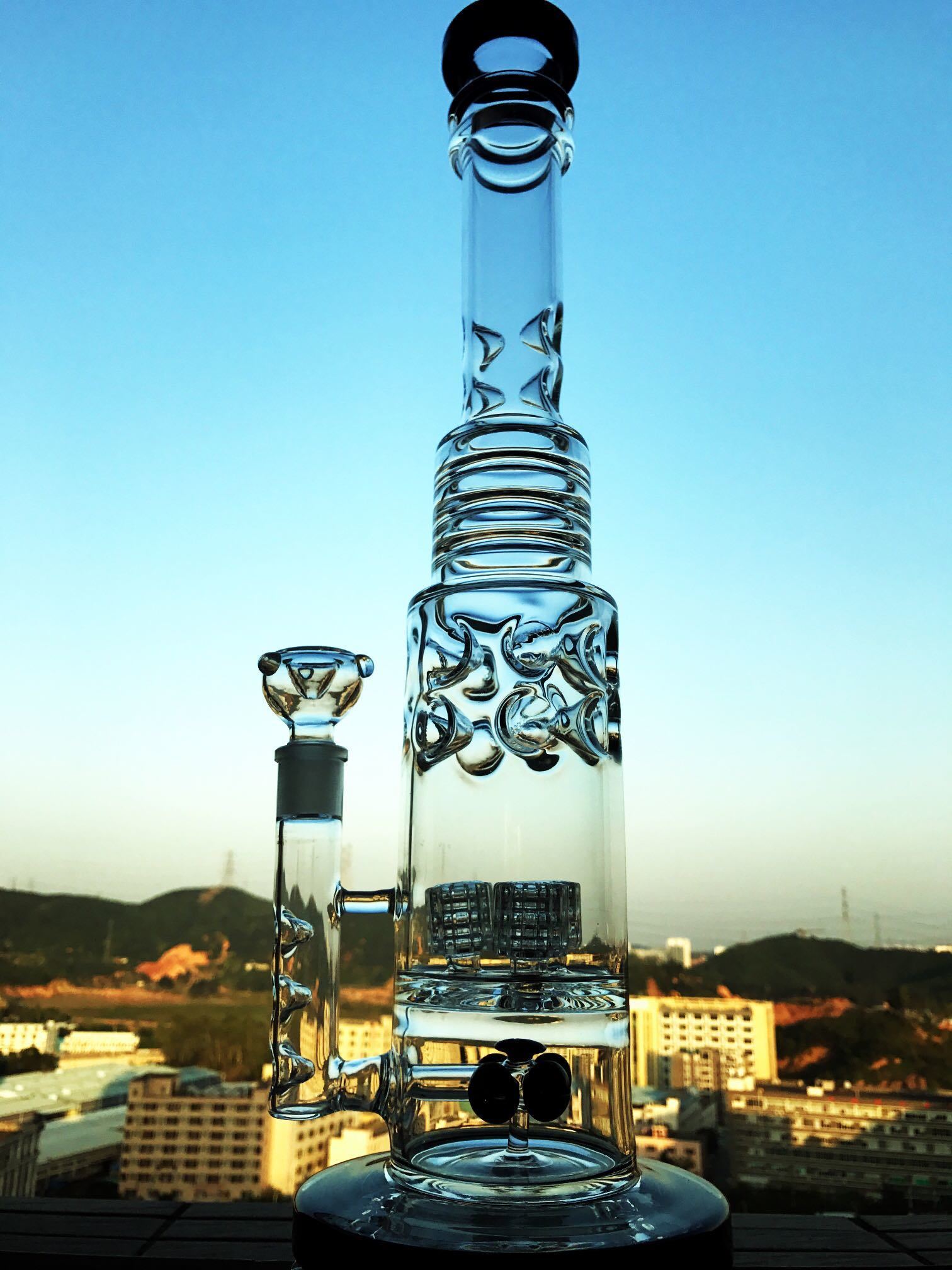 Hitman Sundae Stack DAB Rigs Smoking Glass Water Pipe High Quality Recycler Tobacco Tall Color Bowl Glass Craft Ashtray Glass Pipes Heady Beaker Bubbler Handcra pictures & photos
