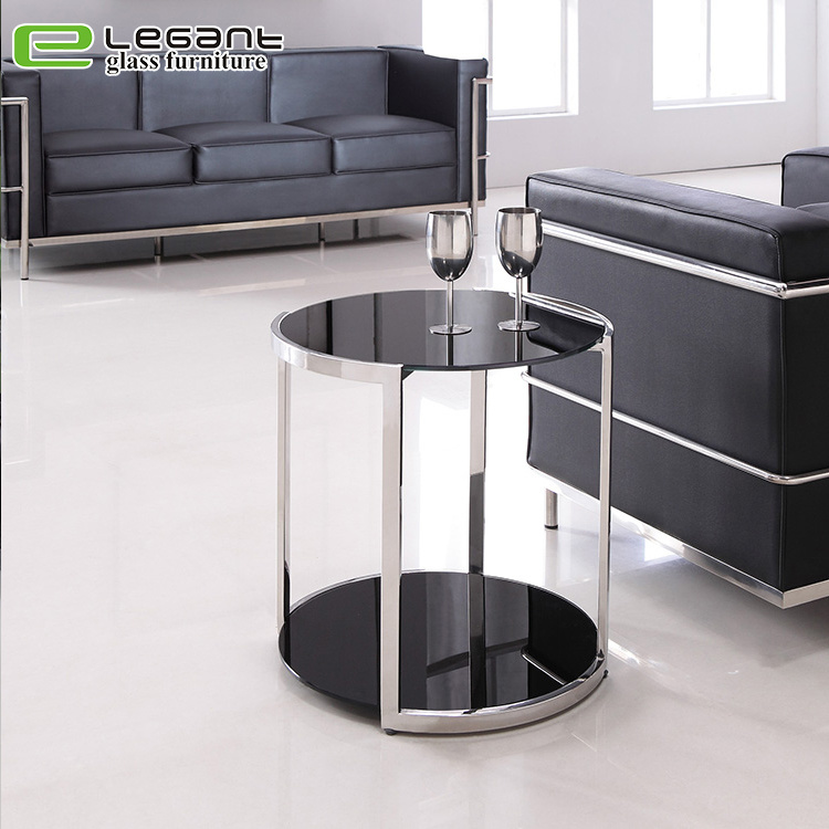 Round Black Glass Coffee Table 9