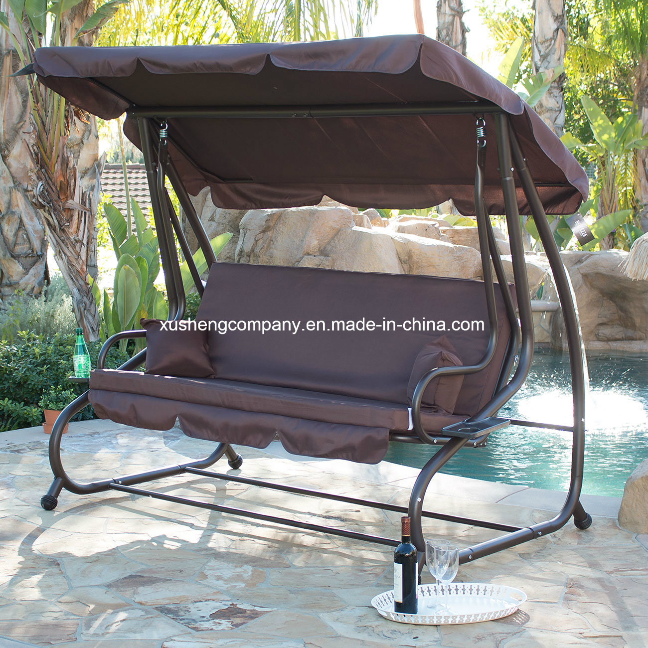 Deluxe 3 Seater Patio Garden Swing Chair/Bed with 2 Pillows pictures & photos