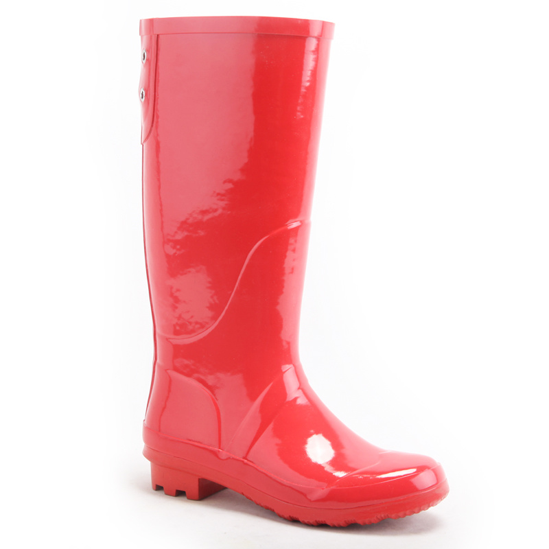 China Knee High Red Long Rubber Boot, Women Sex Rubber