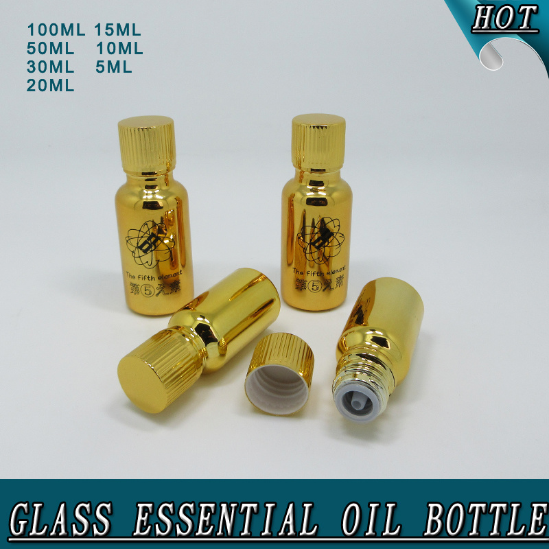 Hot Sale Electroplated Shiny Gold Glass Essential Oil Bottle pictures & photos