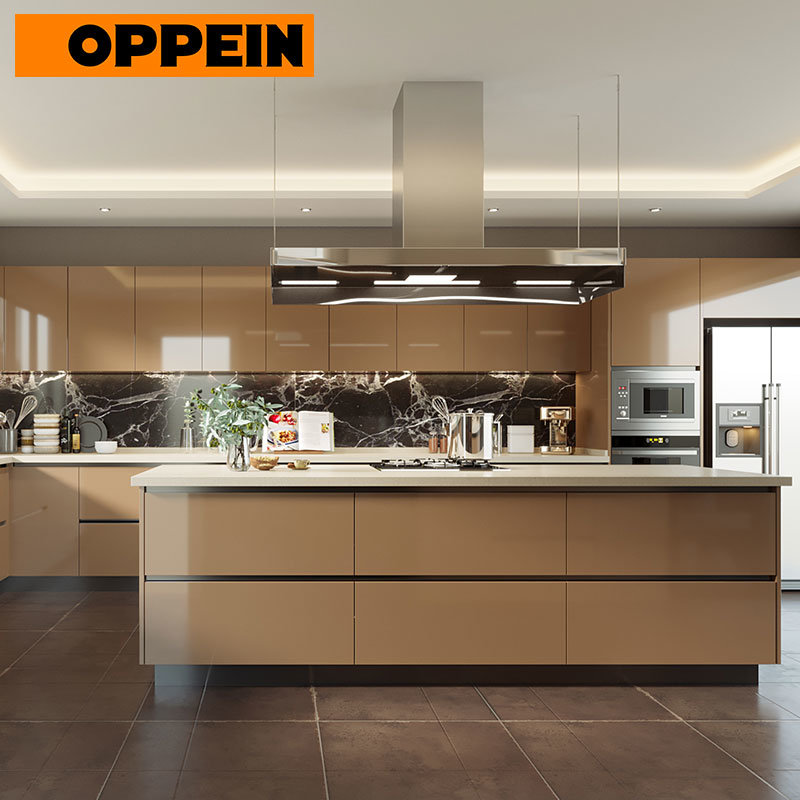[Hot Item] Oppein Guangzhou Contemporary Fitted High Gloss Laminate Kitchen  Furniture Set