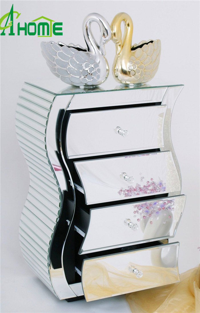 China Home Decor Furniture Modern Luxury Mirror Nightstand China Nightstand Mini Mirror Nightstand