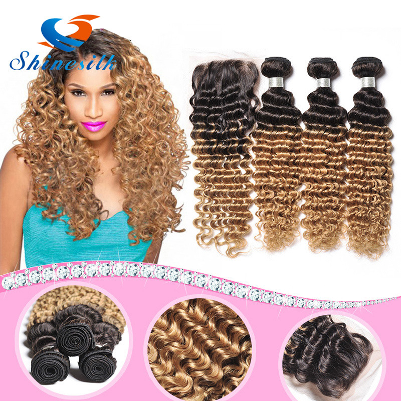 China 8a Ombre Deep Wave Brazilian Human Hair Extensions 3pcslot