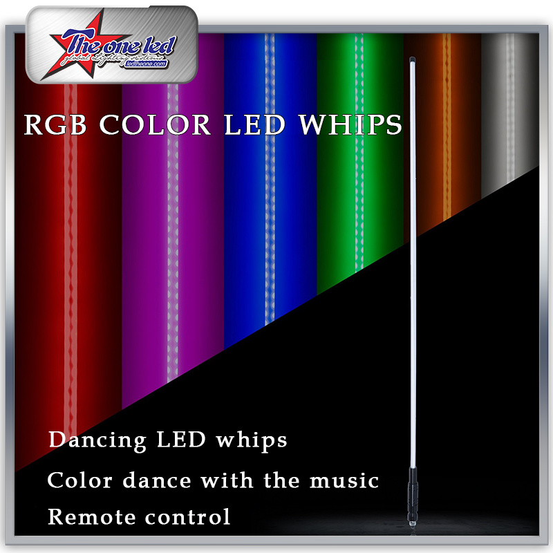 6 color available Led light bulb whip with American flag Quick Release Blue, 4 Feet