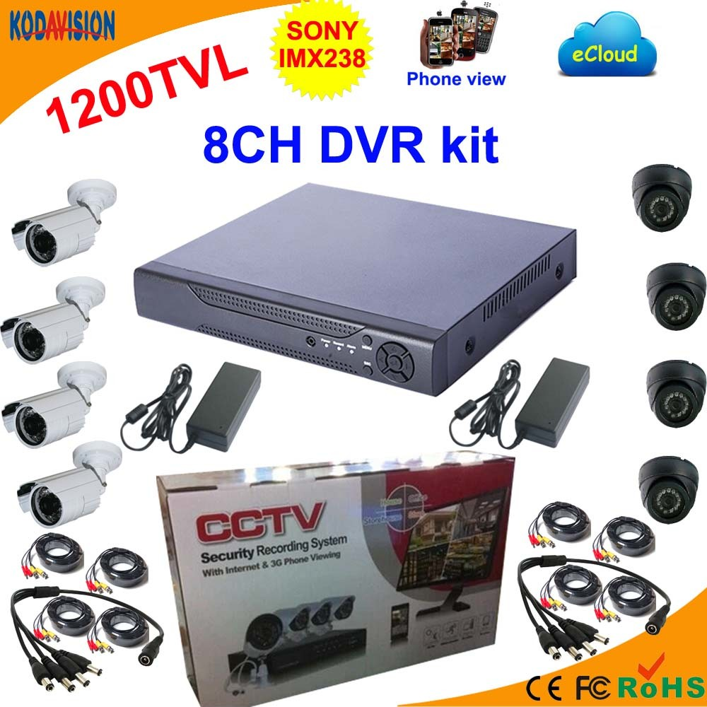 China 8 Channel Standalone Dvr Kit With Sony 1200tvl Camera