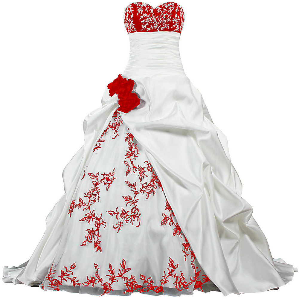 Hot Item Luxury Ball Gown White And Red Satin Wedding Dresses Bridal