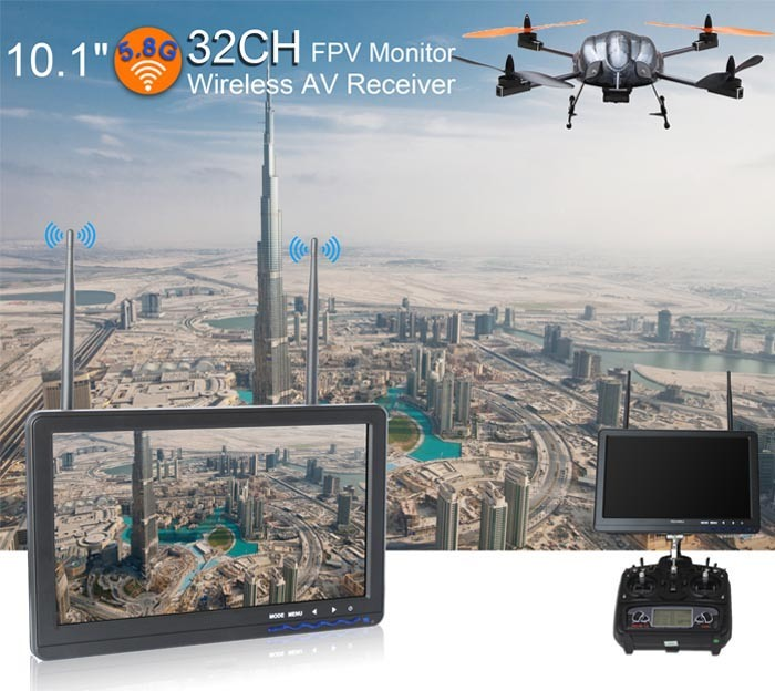 "10.1"" Fpv High Brightness Monitor with 5.8GHz 32CH Dual Antenna"