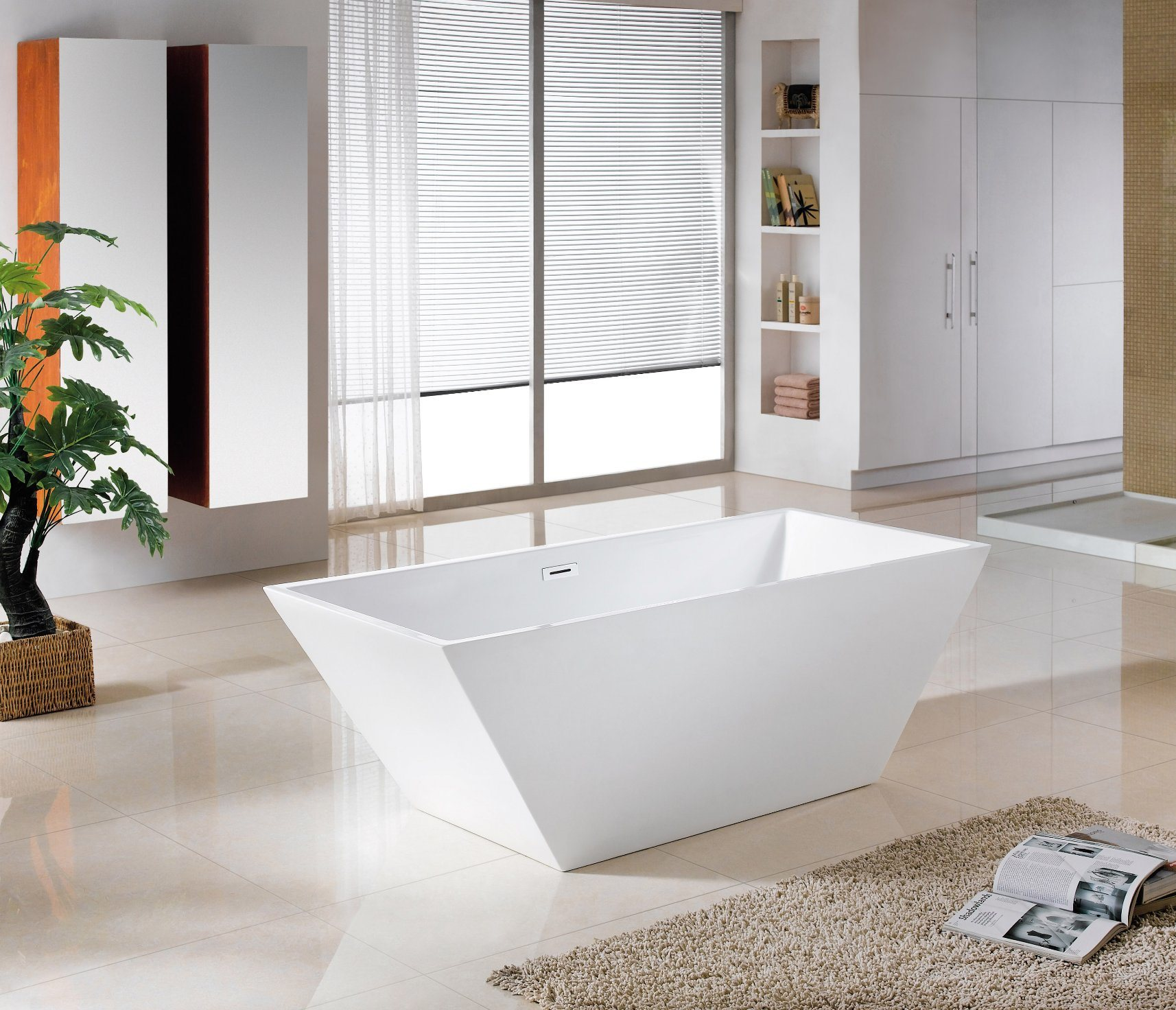 China Against Wall Square Acrylic Freestanding Bathtubs - China ...