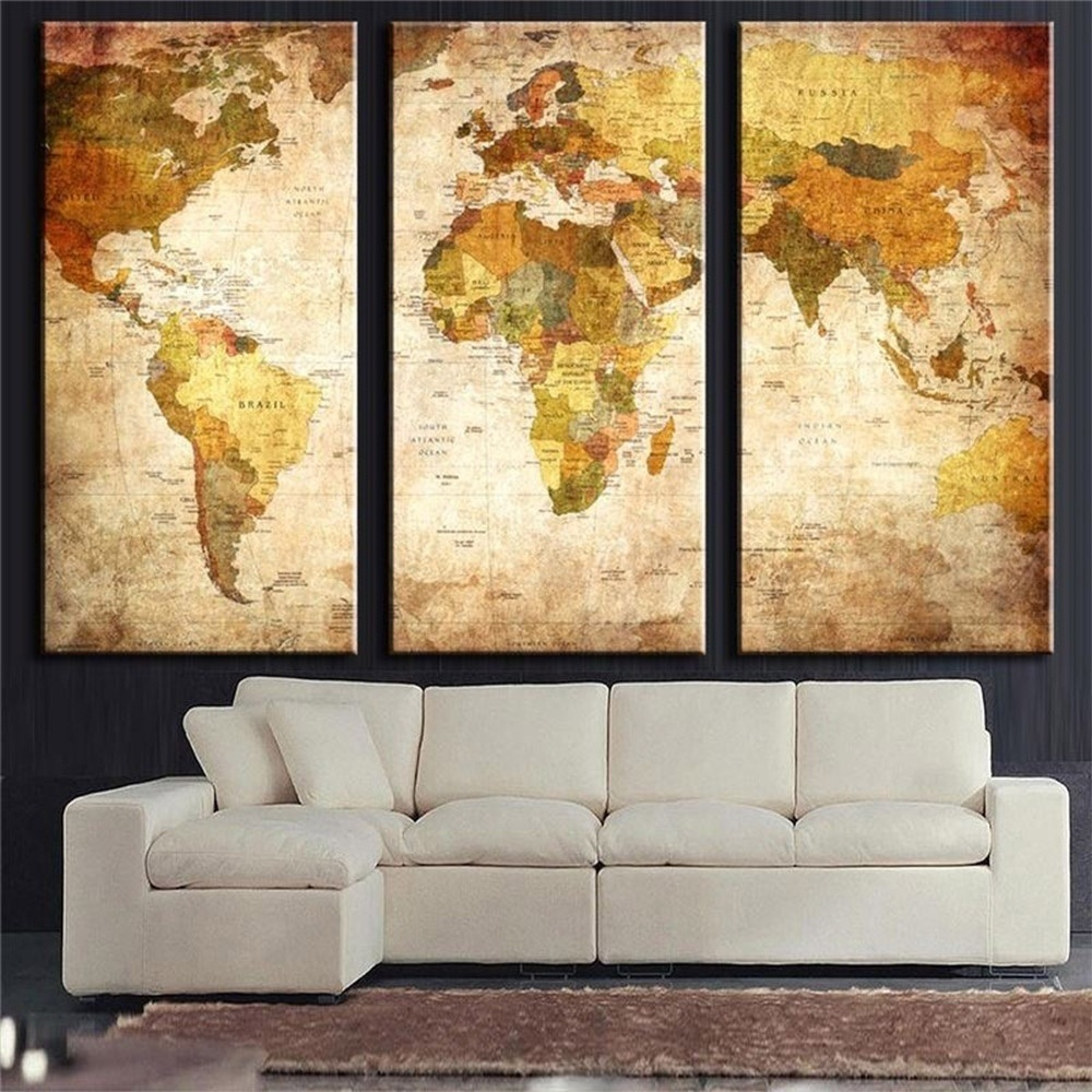 China 3 Panel Vintage World Map Canvas Painting Oil Painting Print ...