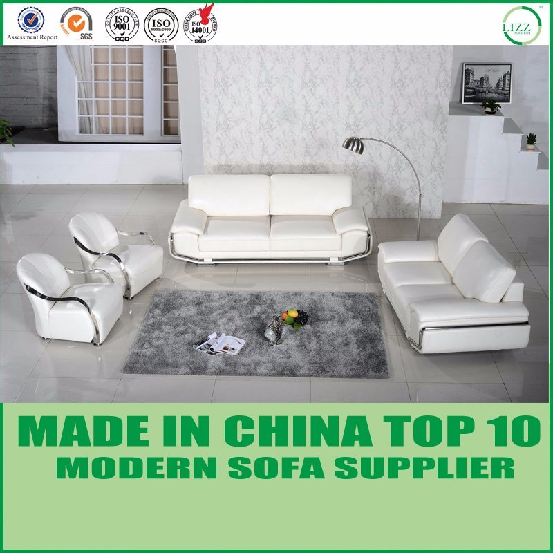 China Modern Living Room Furniture Italian White Leather Couch ...