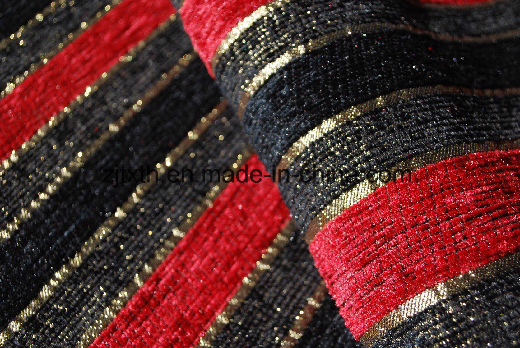 [Hot Item] Stripe Design Black and Red Chenille Sofa Fabric (FTH31003B)