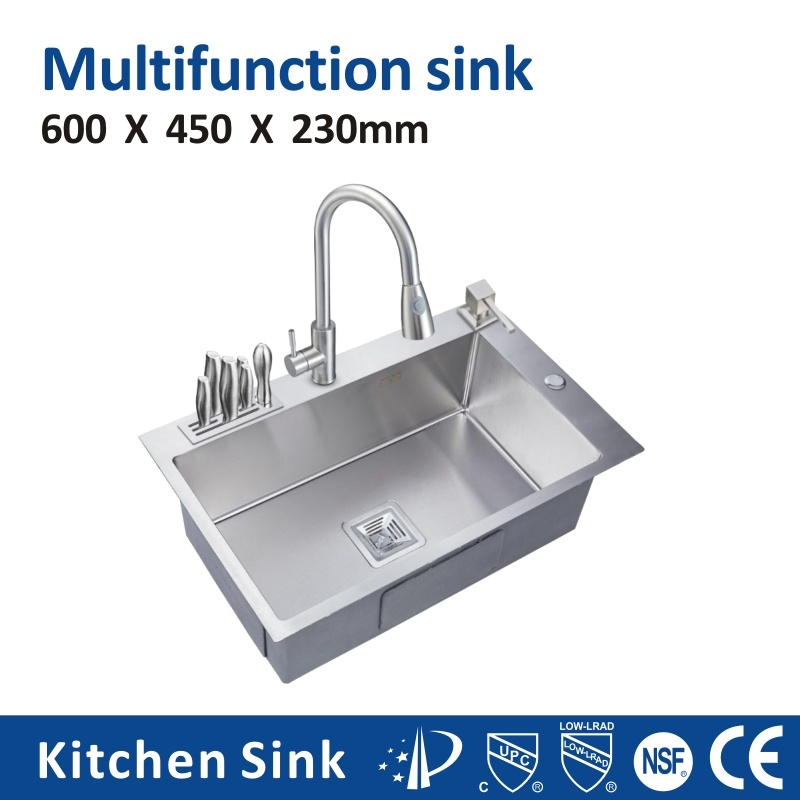 China Canada Multifunction R10 18gauge 5050 Rectangular Counter Top One Two Hole Sink Sus304 201 Stainless Steel Copper Manual With Knife Cutting Board Holder China Multifunction Kitchen Sink Stainless Steel Kitchen Sink