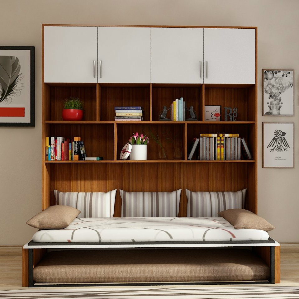- China Double Wall Bed Modern Transformable Bedroom Space Saving