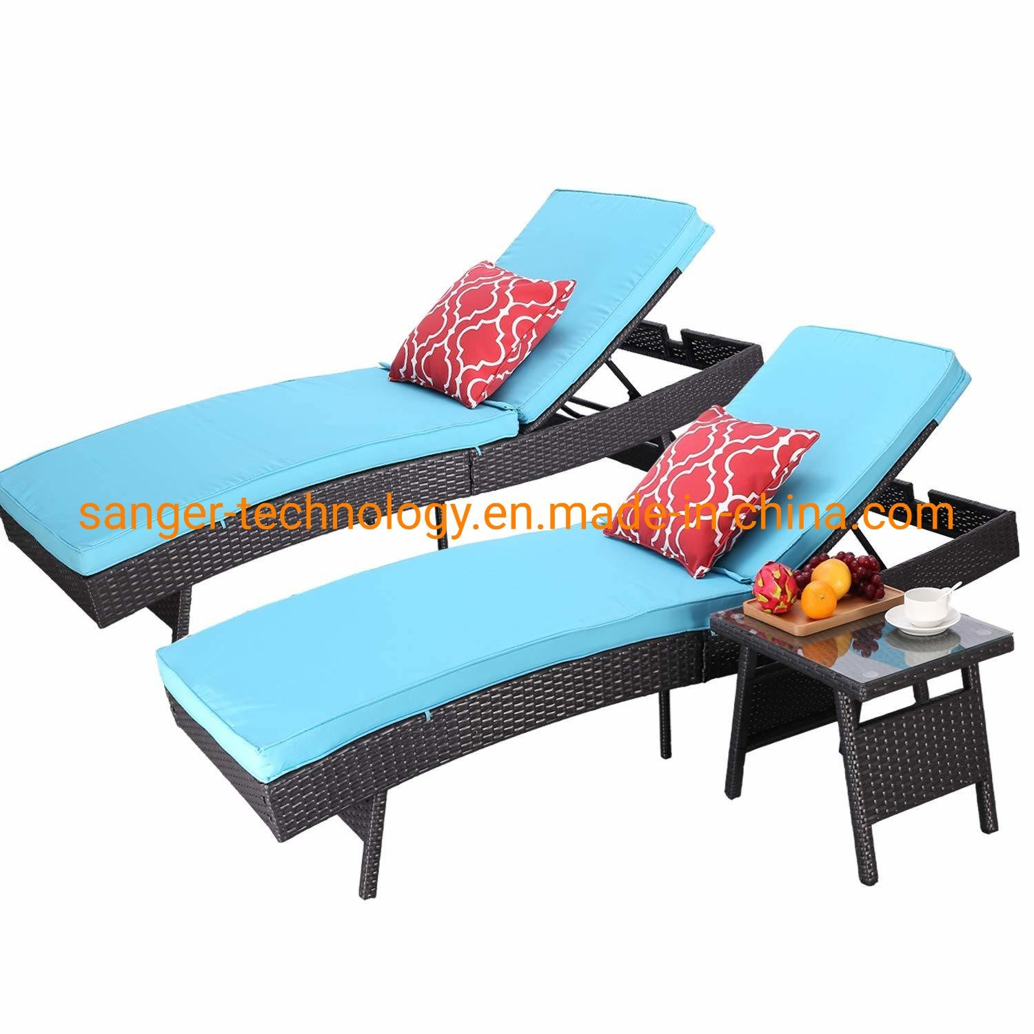 Hot Item Adjustable Patio Outdoor Furniture Rattan Wicker Chaise Lounge Chair Sofa Couch Bed With Turquoise Cushion 2 Pcs Chaise Lounge And A Table
