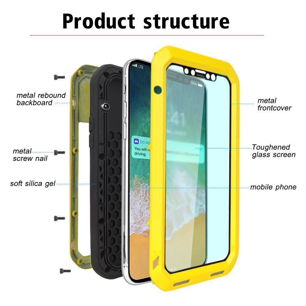 timeless design a6e16 988c6 China Metal Shockproof Waterproof Gorilla Glass Case for iPhone X ...