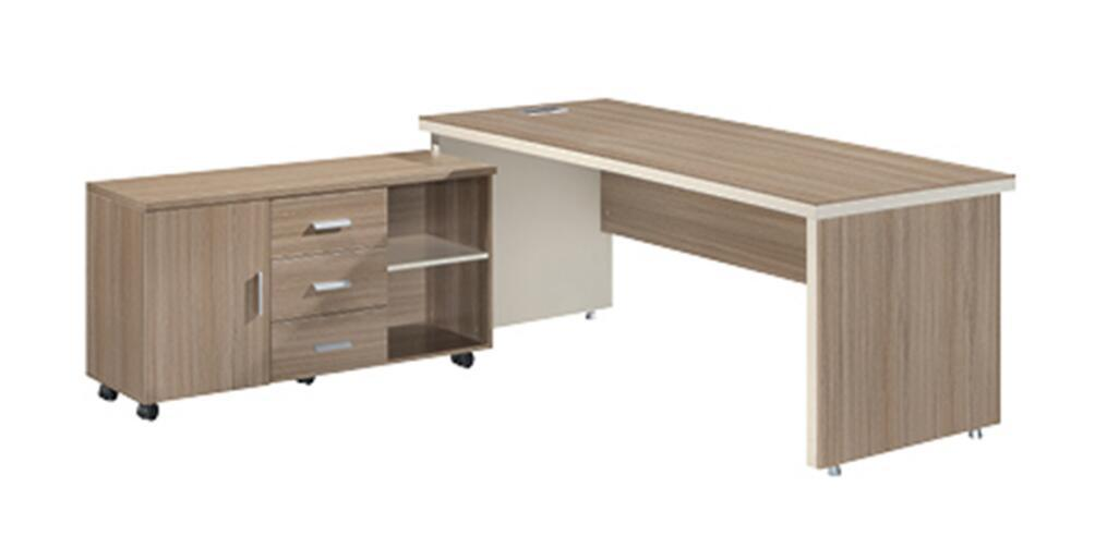 L Shape Normal Size Office Desk With Doent Cabinet