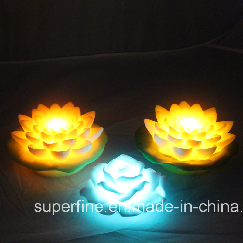 Beautiful Plastic Floating LED Lotus Flower Light for Outside