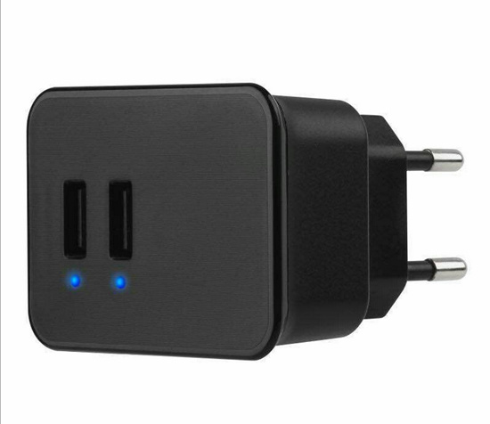 Black Adaptive Dual USB Phone Charger with UK EU Plug pictures & photos