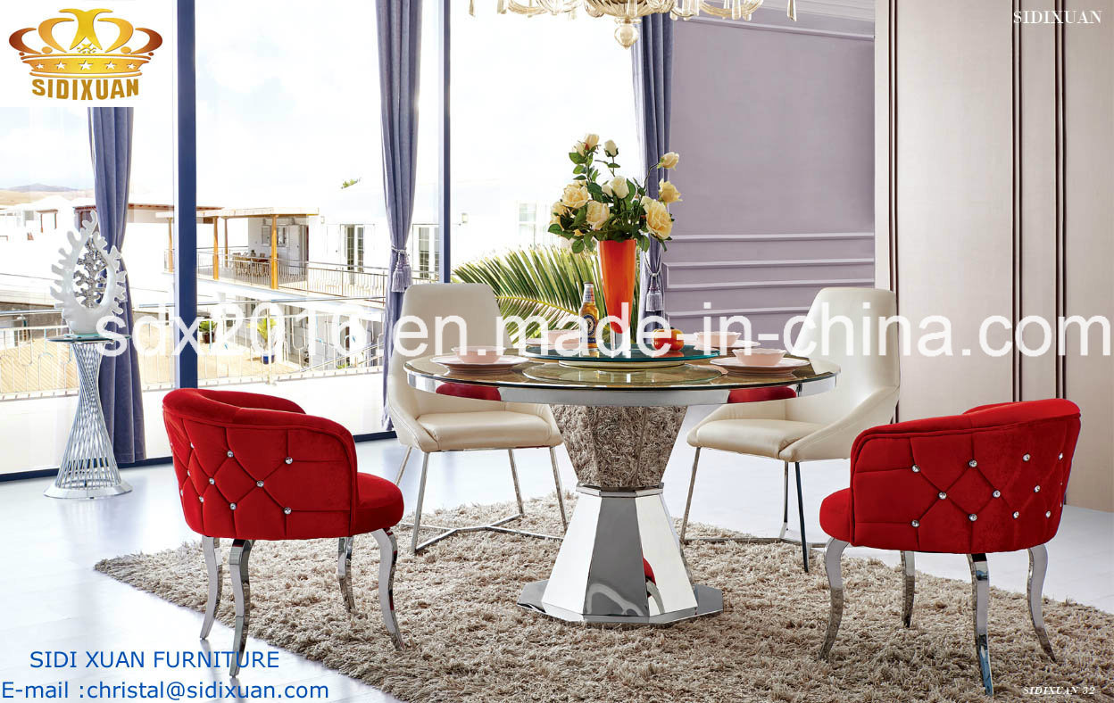 [Hot Item] Dining Table / Modern Table / Home Furniture / Restaurant Table  / Living Room Furniture / Glass Table / Modern Furniture / Metal Chair / ...