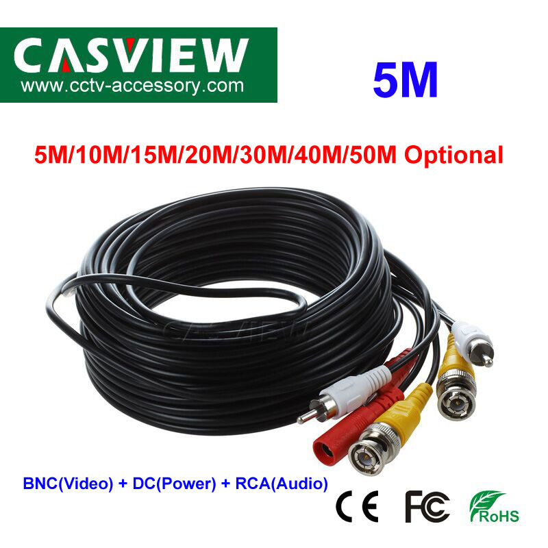 HU 30M Security Camera Cable CCTV Video Power Wire BNC RCA Black Cord DVR 1 Pcs