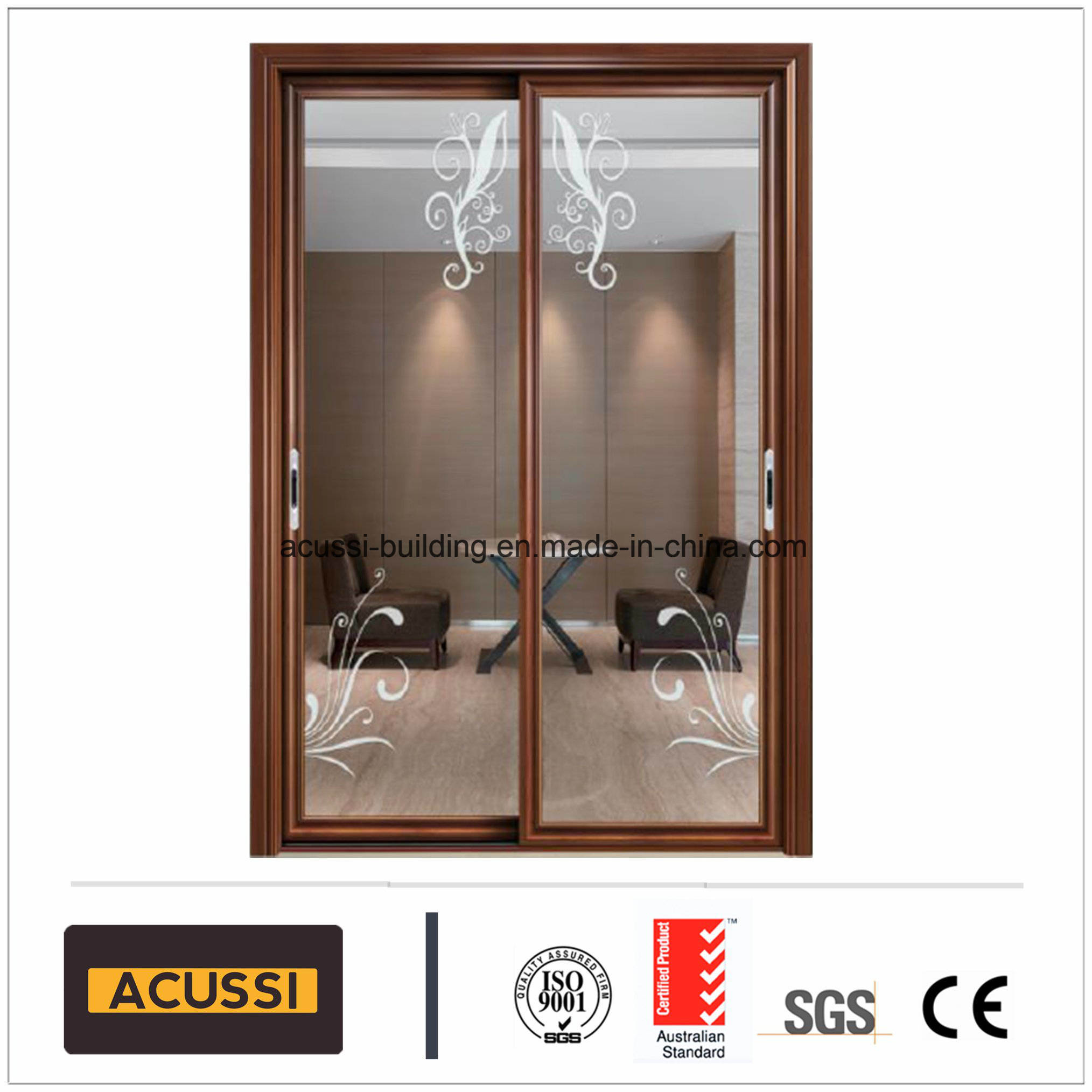Wholesale Building Material Aluminum Sliding Door Heat/Sound Insulation  With PA66 Insulating Tape Double Tempered Glass