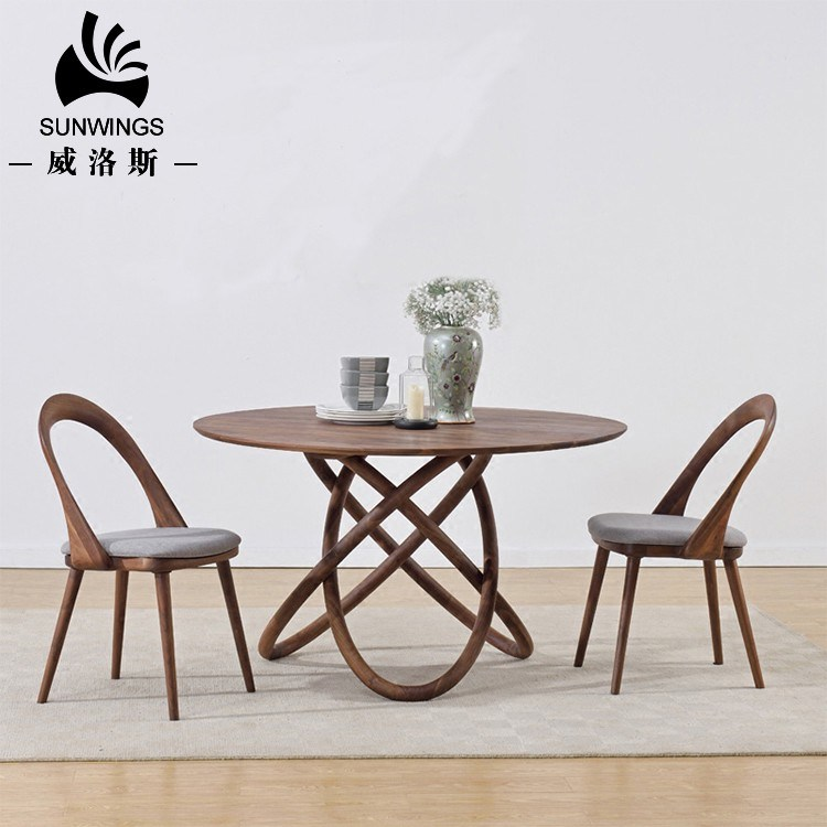 China Art Design Dining Room Set Family Wooden Round Dining Table Photos Pictures Made In China Com