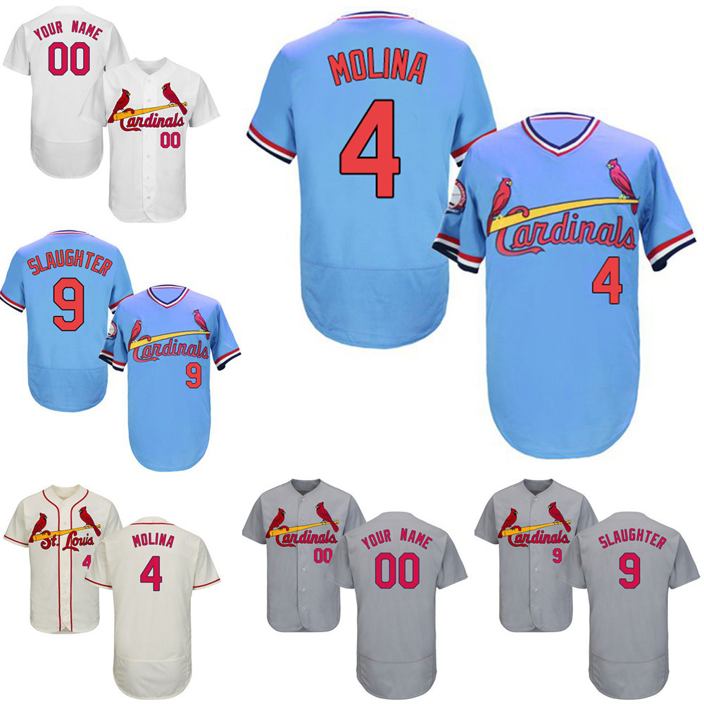 buy popular d791e 1688d [Hot Item] St. Louis Cardinals Yadier Molina Enos Slaughter Throwback  Baseball Jersey