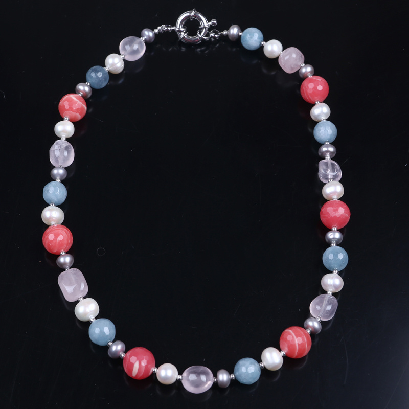 Fashion Jewellery Stone Bead and Freshwater Pearl Bead Necklace