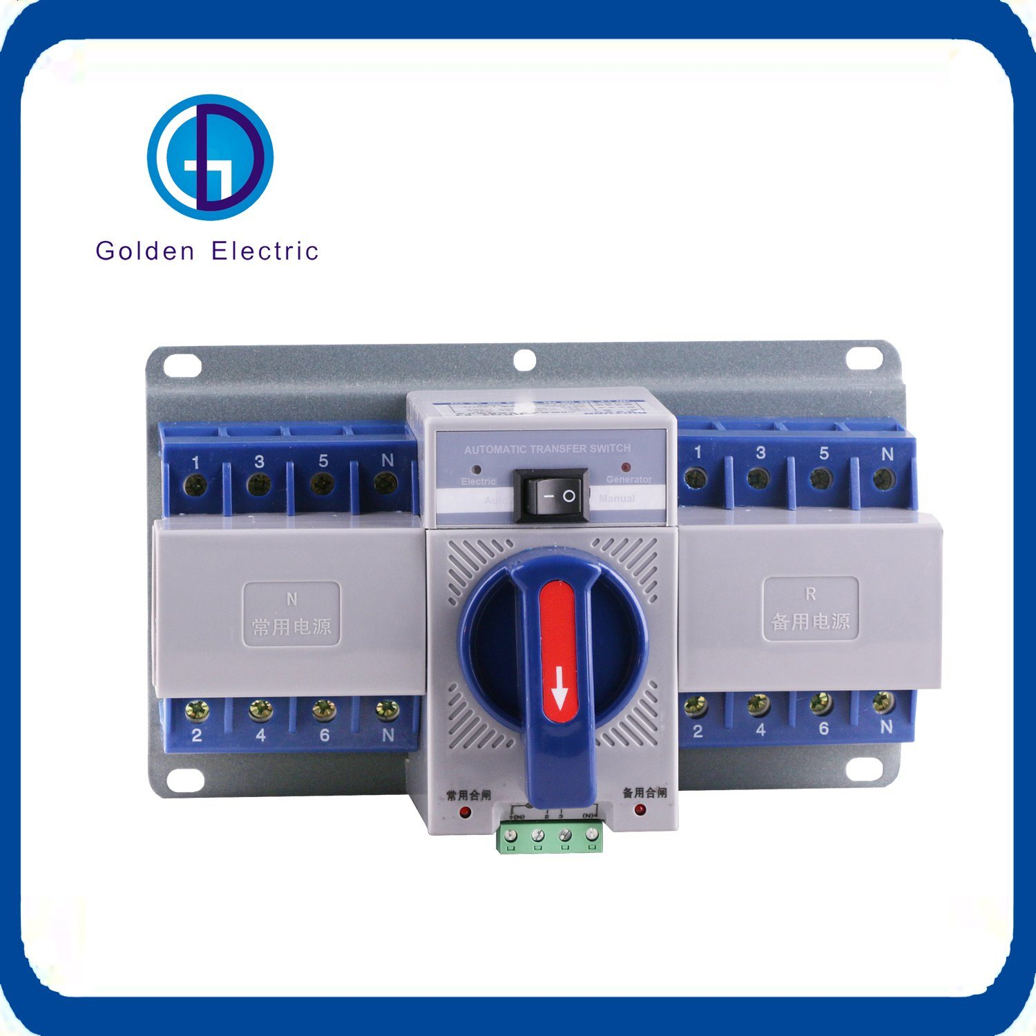 china electric circuit breaker type 2p dual power switch